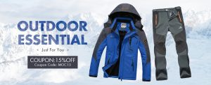 15% off for mens outdoor clothing
