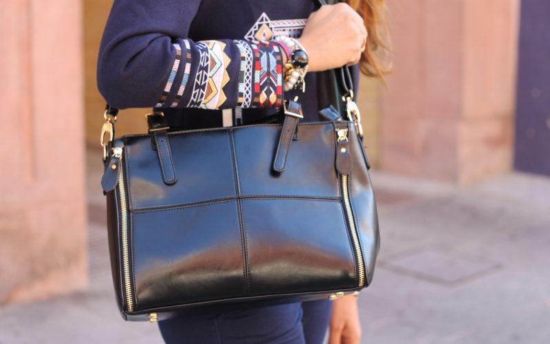 large black leather handbags