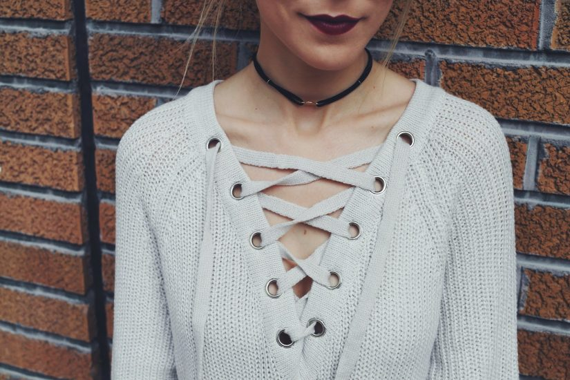 lace up knitted sweaters