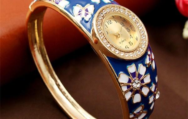Cloisonne-Flower-Watch-Retro-Flower-Butterfly-Rhinestone-Watch_副本