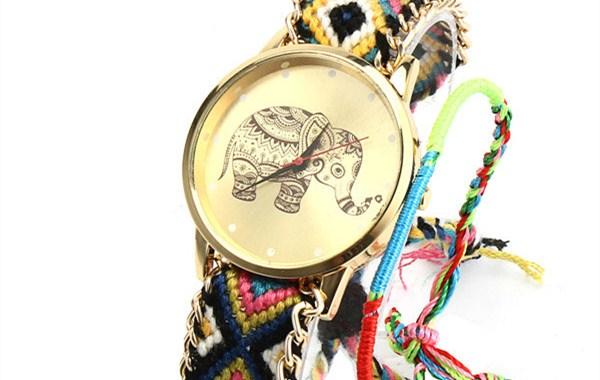 Elephant-Pattern-Weaved-Rope-Band-Bracelet-Watch-5.46_副本