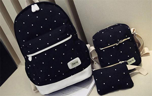 3PCS Canvas Backpack Set  School Bag