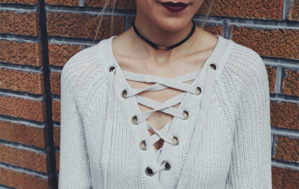 Lace Up Knitted Sweater
