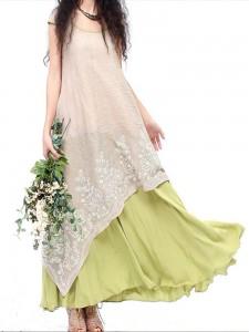 Vintage Embroidery Layered Irregular Hem Elegant Patchwork Women Dress