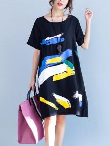 Gracila Women Printed Short Sleeve Loose Summer Vintage Dresses