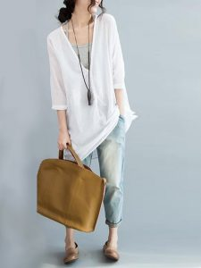 Loose White Three Quarter Sleeve V-Neck Pullover Tops For Women