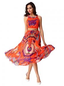 Bohemian Women Printed Sleeveless Beach Chiffon Dress