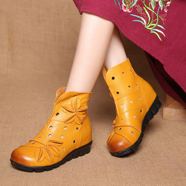 Pure color Socofy genuine leather boots