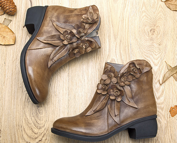 Socofy vintage floral boots