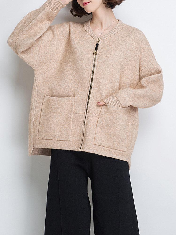 beige casual cardigan sweater