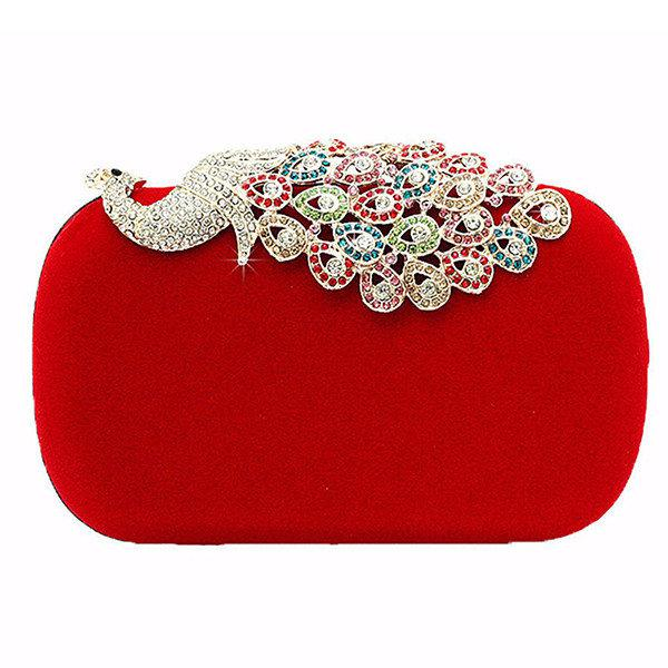 designer red clutch bag