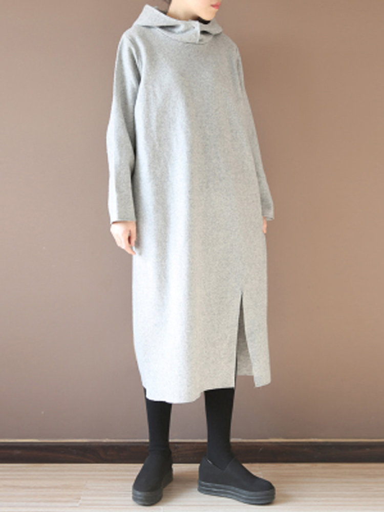 Long sweatshirt dress with hood