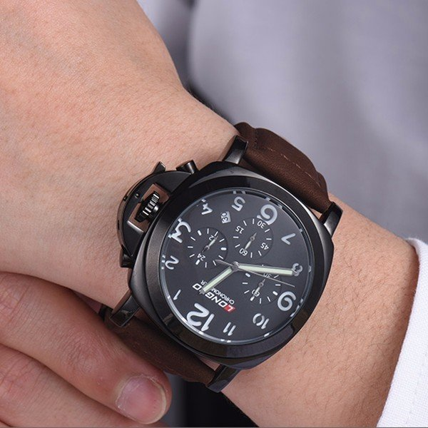 chic stainless watch luxury itm watches leather analog men dial big mens s quartz steel