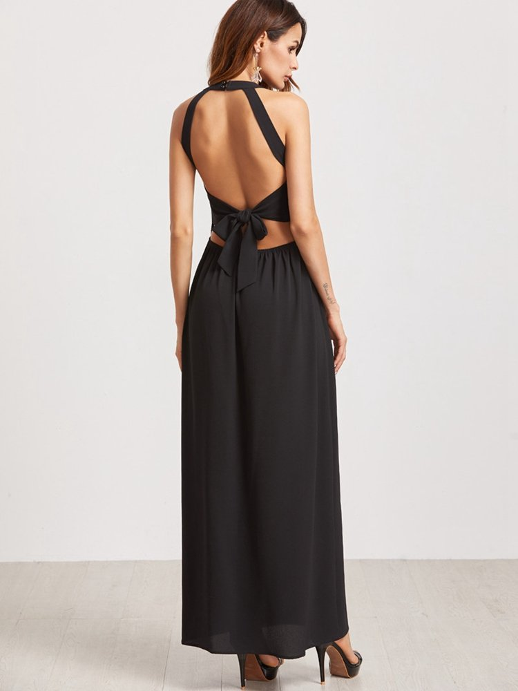 Newchic sexy backless maxi dress