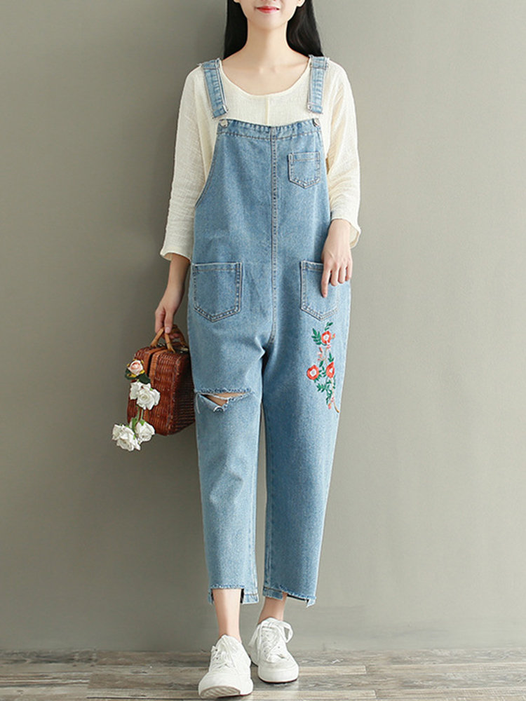 flower denim jumpsuit