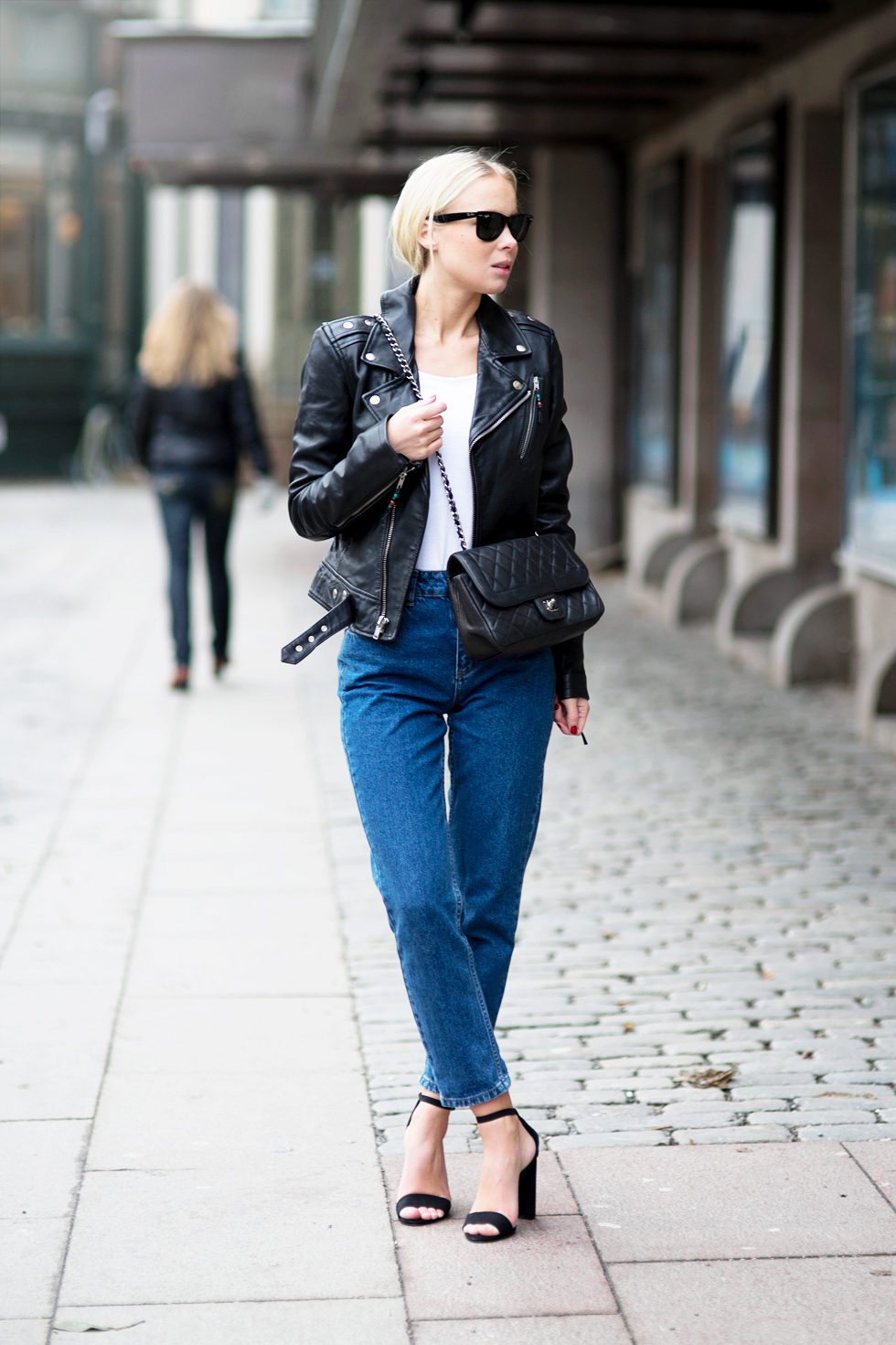black strappy heels with jeans