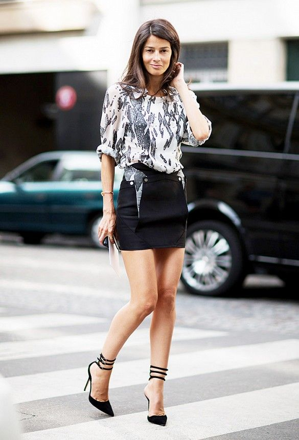black strappy heels with skirt