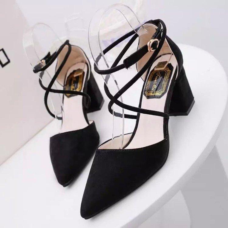 stylish black strappy heels