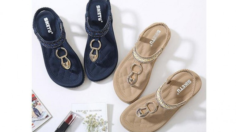 Best Socofy Comfortable Elastic Clip Toe Flat Beach Sandals for 2018 Summer
