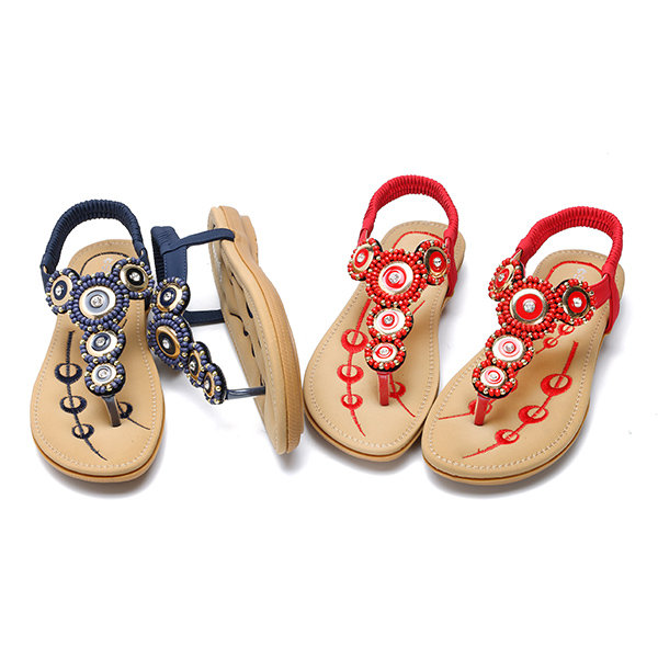 Newchic Socofy comfortable elastic clip toe flat beach sandals
