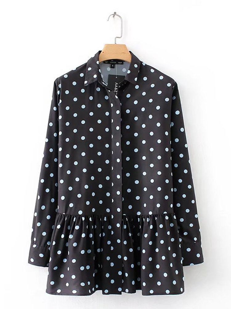 e11d60cd48346 Casual Polka Dot Print Lapel Long Sleeve Women Blouses Cheap - NewChic
