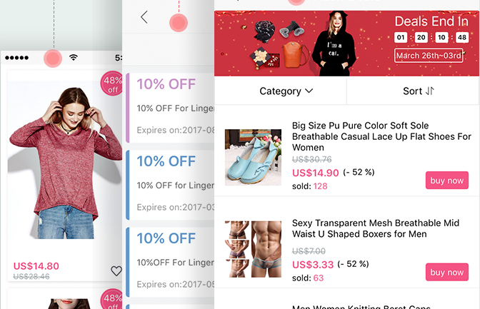 Flash Deal Page on Newchic APP