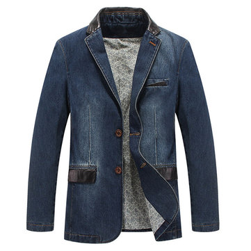 Casual Outdoor Jackets Stylish Suits Stitching Denim Blazers for Men