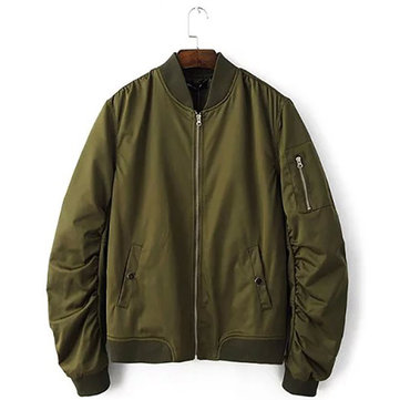 Mens Spring Fall Fashion Pure Color Pilot Bomber Jacket Stand Collar Ribbed Cuff Casual Outwear