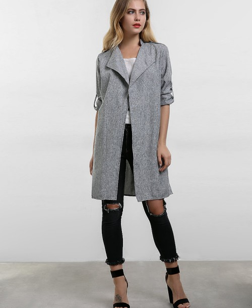 Fashion Lapel Long Baggy Trench Coats