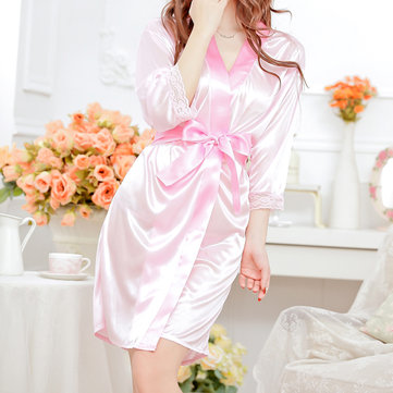 Ice Silk Sexy Lace-trim Long Sleeve Pajama Robes For Women