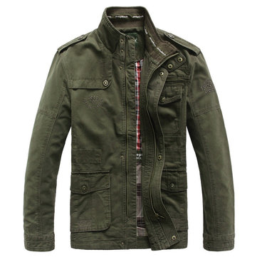 Plus Size Military Epaulets Outdoor Stand Collar Casual Cotton Jacket