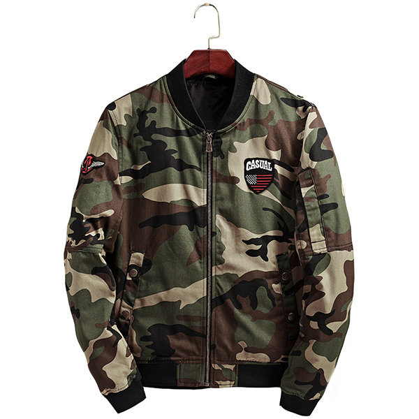 Fall Casual Stylish Camo Printing Stand Collar Bomber Jackets Coats for Men