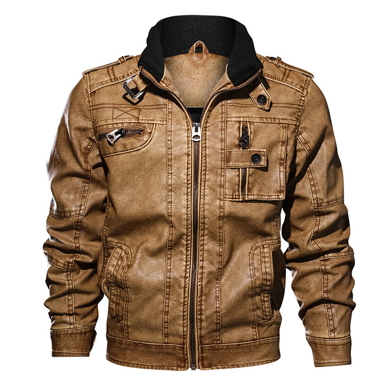 Casual Moto Leather Jacket Multi Pockets Cool Pu Leather Coats