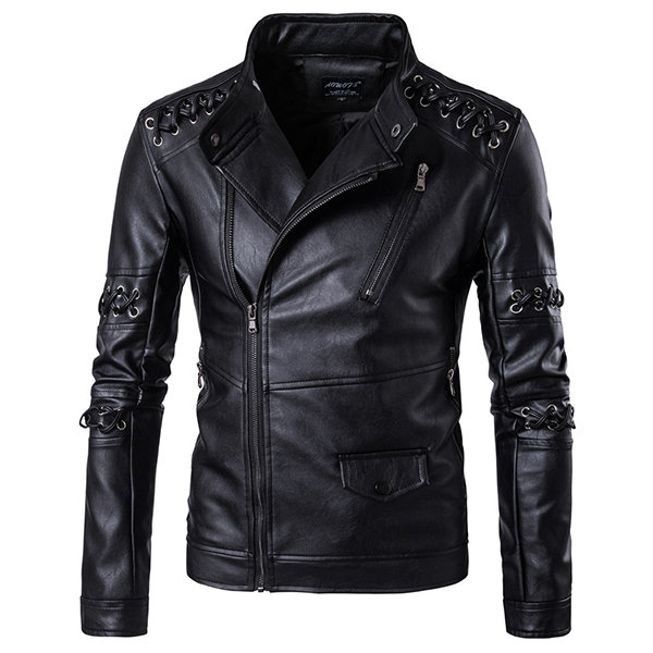 Motorcycle Braided Rope PU Leather Button Stand Collar Jackets for Men