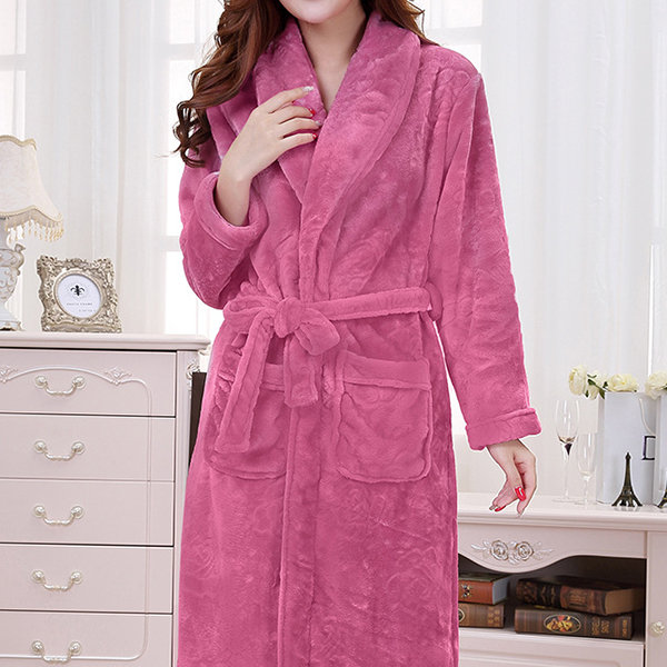 Comfy Flannel Turn-down Collar Long Sleeve Bathrobe Thicken Nightgown For Women