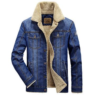 Plus Size Fleece Jacket Multi Pockets Single Breasted Inside Fleece Denim Jacket