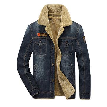 Winter Casual Thicken Warm Denim Jacket Multi Pockets Turn-Down Collar Coat for Men