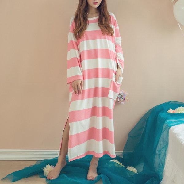 Casual Stripe Cotton Long Sleeve Nightgown Loose Sleepwear Loungewear For Women