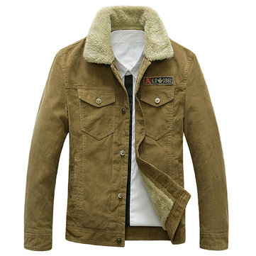 Military Style Winter Outdoor Corduroy Pockets Loose Thicken Jackets