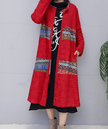Elegant Stitching Printed Jacquard Trench Coats For Women