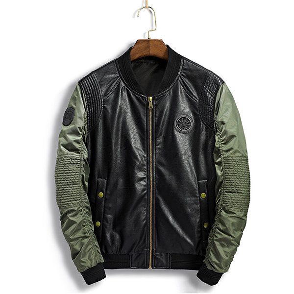 Fall Stand Collar Casual Faux Leather Inside Pocket Patchwork Bomber Jacket