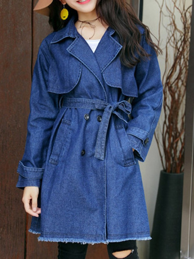 Casual Suit Collar Belt Denim Trench Coats For Women