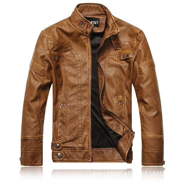 Motorcycle Fashion Thicken PU Leather Stitching Stand Collar Button Jacket for Men