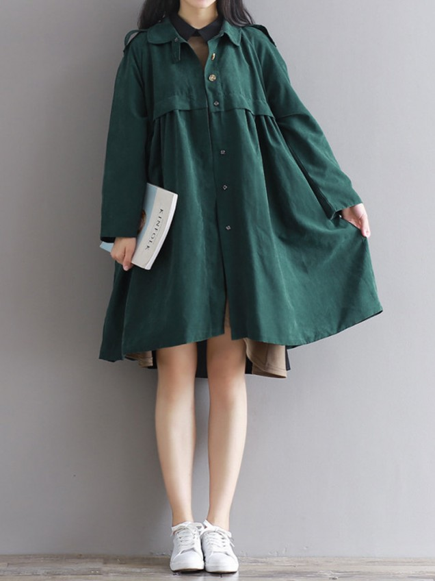 Women Long Sleeve Lapel A-Line Pure Color Loose Trench Coats