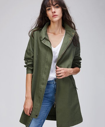 JAZZEVAR Cotton Army Green Trench Coats For Women