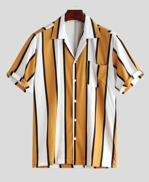 Vertical Striped Hawaiian Shirt