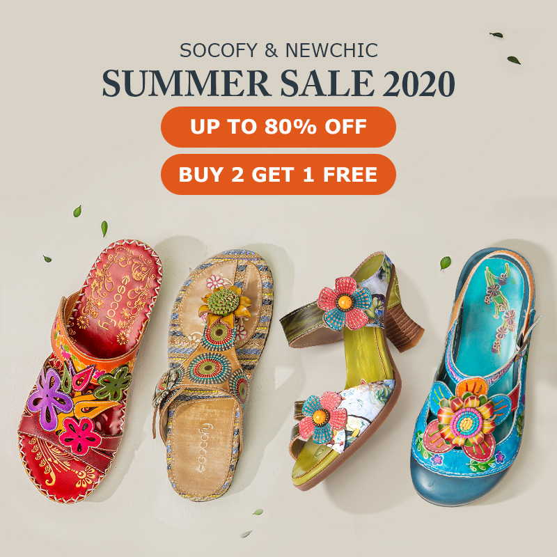 NEWCHIC SUMMER SALE 2020– SOCOFY SHOES UP TO 80% OFF
