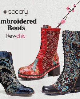 SOCOFY embroidered boots
