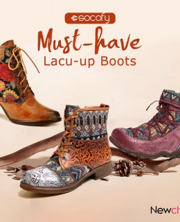 SOCOFY Lace-up Boots