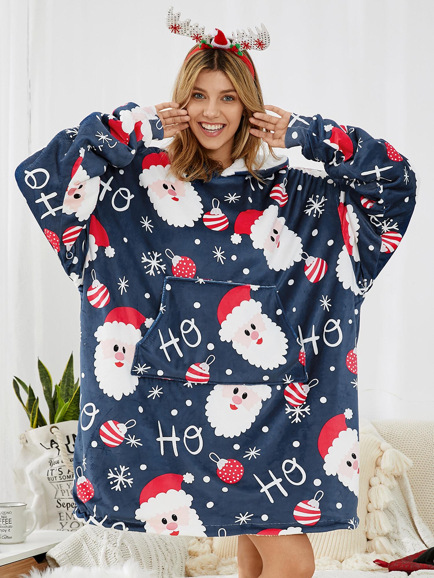 Newchic Christmas Santa Hoodies Sweatshirt Pajamas